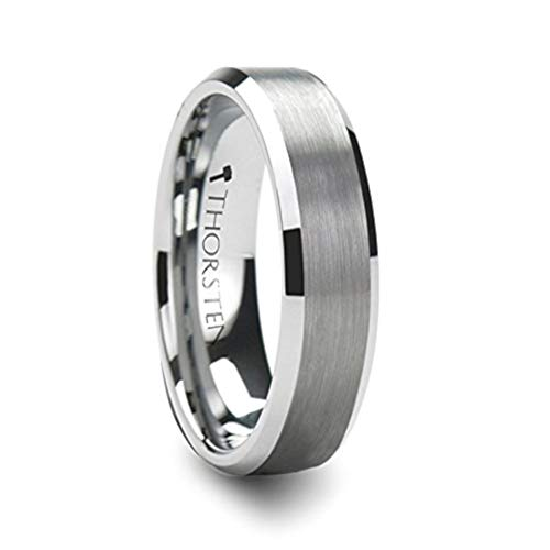 - PETERSBURG Brushed Center White Tungsten Ring with Beveled Edges - 6mm - FREE Engraving