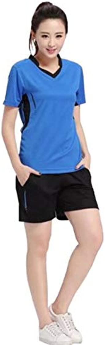 Goldyqin Conjunto de Camisa de Tenis para Mujer Ropa de bádminton Conjunto de Tenis Ropa de Tenis de Mesa Camisa Deportiva Transpirable + Traje de Falda de Tenis - Azul - 2XL