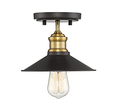 Trade Winds Lighting TW60045ORBNB Industrial Vintage Retro Metal Shade Loft Close to Ceiling Semi-Flush
