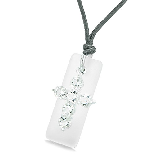 (Sea Glass Mist White Tag Adorable Crystal Cross Protection Positive Powers Amulet Adjustable Necklace)