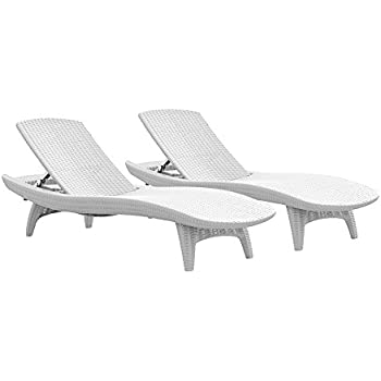 Keter Pacific 2-Pack All-weather Adjustable Outdoor Patio Chaise Lounge Furniture White  sc 1 st  Amazon.com & Amazon.com : Keter Pacific 2-Pack All-weather Adjustable Outdoor ...