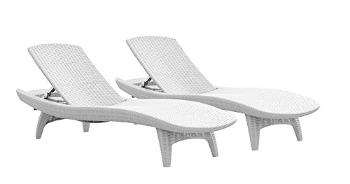 (Keter Pacific 2-Pack All-weather Adjustable Outdoor Patio Chaise Lounge Furniture, White)