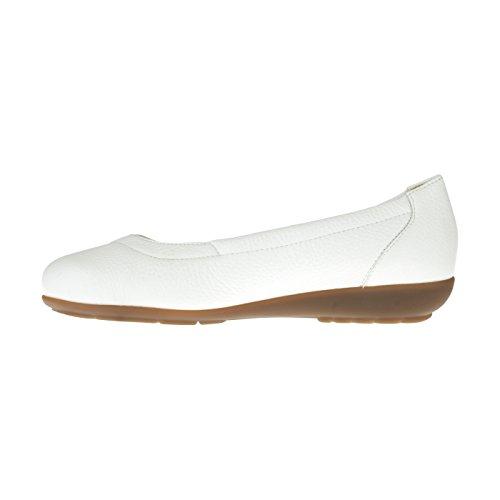 Ballerina Tessamino Femminile | Dalla Pelle Di Daino | Elegante | Ampio H | Bianco Per I Depositi