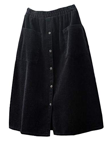 Minibee Women's Corduroy Midi Skirt Front Split Buttons A-Line Dress Black 2XL