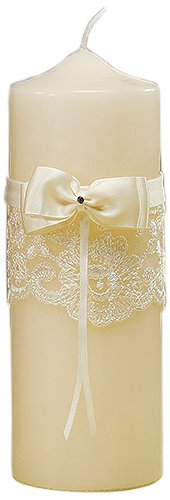Beverly Clark Unity Candles - Beverly Clark French Lace Unity Candle, Ivory