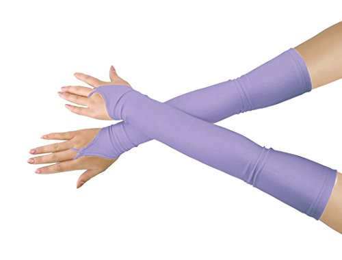 Shinningstar Girls' Boys' Adults' Stretchy Lycra Fingerless Over Elbow Cosplay Catsuit Opera Long Gloves (Light Purple) ()