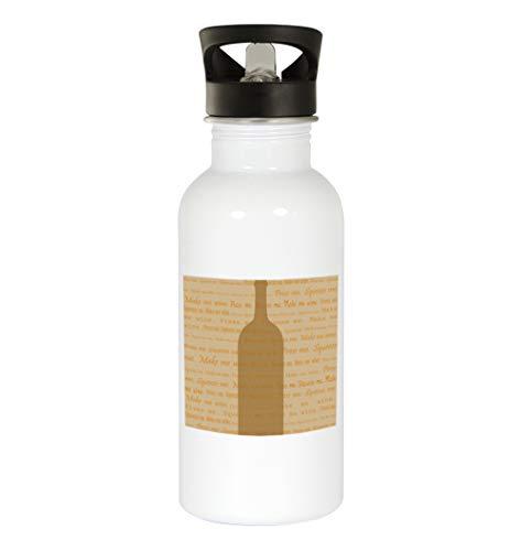 White Wine #101 - Funny Humor 20oz White Water Bottle ()