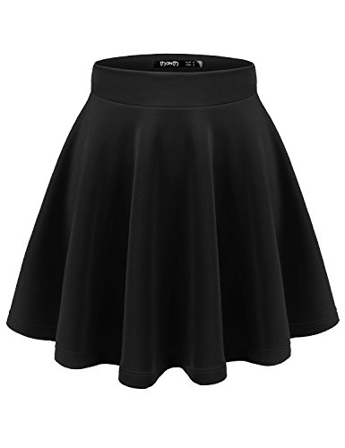 Skirt Pleated Sequin White (TWINTH Womens Versatile Stretchy Pleated Flare Skater Skirt Black S)