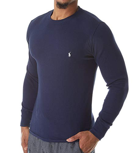(Polo Ralph Lauren Waffle-Knit Long Sleeve Crew Shirt (PWLCFR) M/Cruise Navy)