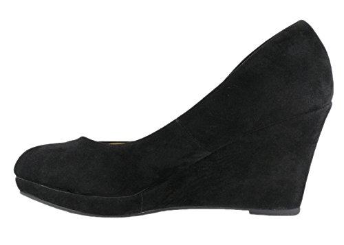 Cambridge Select Dames Klassiek Gesloten Ronde Neus Instapplatform Wedge Black Imsu