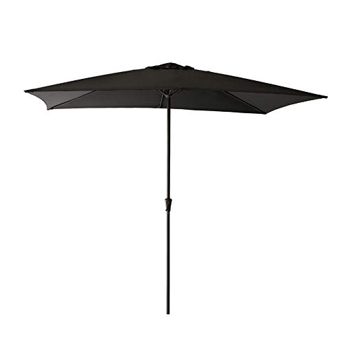 C-Hopetree 6 feet 6 inch x 10 feet Patio Market Outdoor Umbrella with Crank Winder Rectangle Black