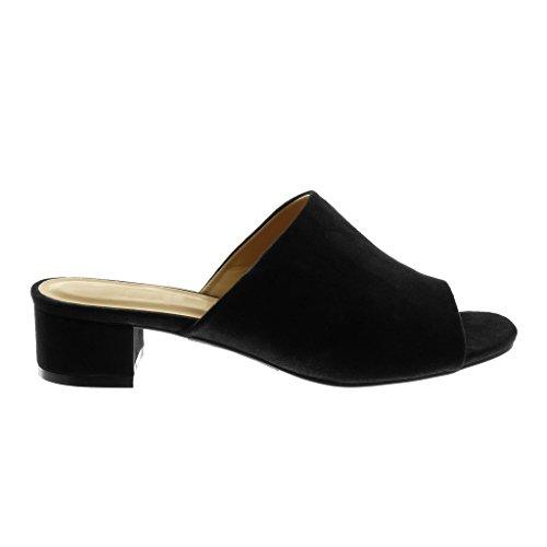 Angkorly Zapatillas Moda Sandalias Mules Slip-On Peep-Toe Mujer Tacón Ancho Alto 4 cm Negro