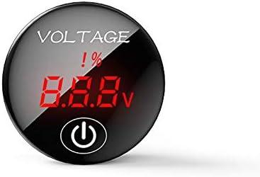 YGL DC 5V-48V Medidor de Voltaje LED Pantalla de Capacidad de Batería Voltímetro con Interruptor ON Off para Coche Moto(Rojo)
