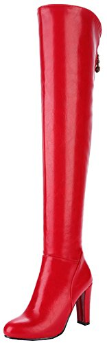 Mofri Women's Sexy Pendant Round Toe Block Chunky High Heel Side Zipper Thigh High Long Riding Boots (Red, 7 B(M) ()