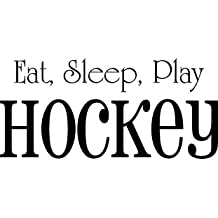 Vinyl Decal Sticker for Computer Wall Car Mac Macbook and More - Eat, Sleep, Play, Hockey