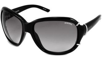 Diesel 0086/S Sunglasses 0D28/LF - Shiny Black with Gray Gradient - Lf Sunglasses