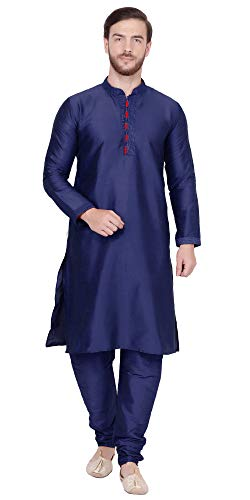 Male Bollywood Costume (SKAVIJ Men's Art Silk Kurta Pajama Set Indian Traditional Dress (X-Large,)