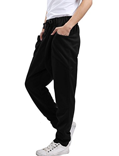 uxcell Men's Casual Elastic Waist Lightweight Knitted Jogger Sweatpants Pants W Pockets Black 32/34