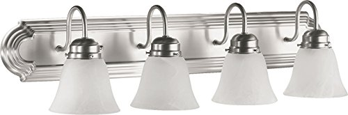 - Quorum International 5094-4-165 Vanity Lights with Alabaster Swirl Glass Shades, Satin Nickel