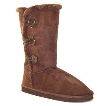 "Womens 12"" Tall Mid Calf Boots 3 Button Faux Sheepskin Fur Shearling (10, Brown HS004)"