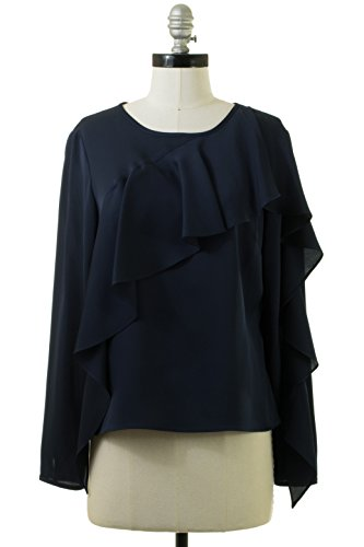 MILLY Stretch Silk Cascade-Sleeve Top in Navy