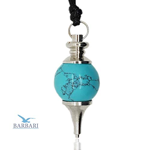 (BARBARI Jewelry Ball Turquoise Healing Crystal Necklace | Handmade Gift for Him and Her+ Free Organza Bag+ Free Gift! High Quality Natural Gemstone Pendant for Men and)