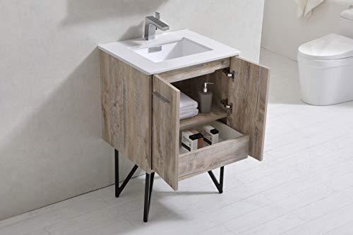 Bosco 24″ Modern Bathroom Vanity w/Quartz Countertop and Matching Mirror -  - bathroom-vanities, bathroom-fixtures-hardware, bathroom - 31KVHbOhtnL -