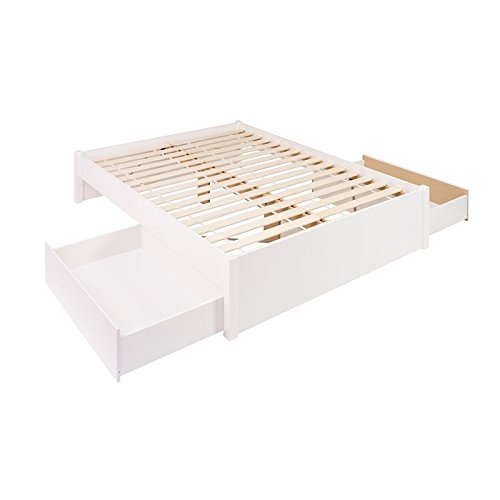 (Prepac Select Queen 4-Post Platform Bed with 2 Drawers in White)