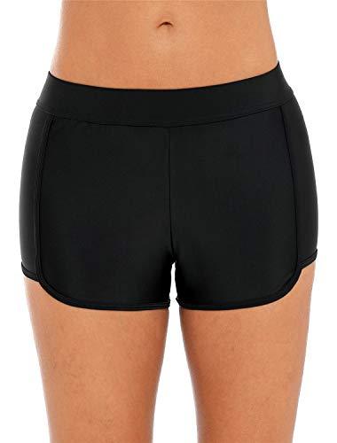 ALove Womens Quick Dry Swim Shorts Elastic Board Shorts Tankini Bottoms Black Medium ()