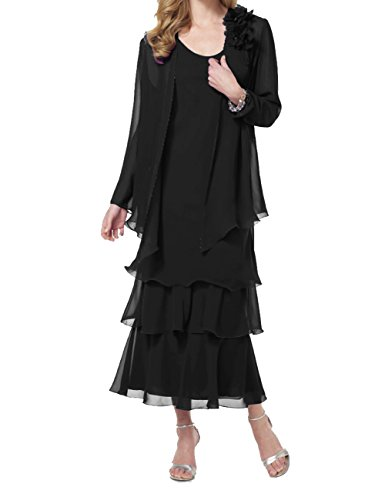 ModeC Two Piece Mother Of The Bride Dresses Womens Tea Length Chiffon Formal Gown Black US14