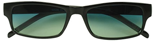 Sunglass Stop - Blue Colored Lens Black Rectangle Small Glasses (Black , Blue)