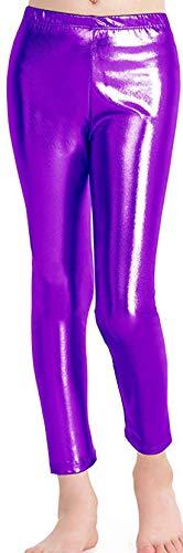 Loxdonz Girls Shiny Wet Look Leggings Kids Liquid Metallic Dance Footless Tights (7-8 Years, Purple)