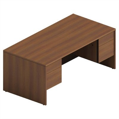 Adaptabilities Double Pedestal Executive Desk Laminate: Avant Honey