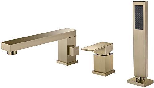 温水と冷水を備えたバスタブの蛇口広く普及している3つの穴シングルハンドルバスルームの浴槽の蛇口デッキマウントバスシャワーミキサータップハンドヘルドシャワー,Brushed gold