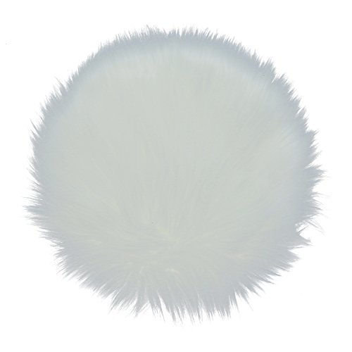 (Buorsa 12 inch Soft Faux Sheepskin Rouund Shaggy Shag Area Rugs White Fluffy Living Room Carpet Mini Small Size Fit for Photographing Background of Jewellery)