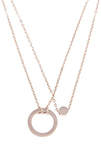 Double Happiness Circle Necklace - Happiness Boutique Layered Necklace Circle Pendant in Rose Gold | Double Row Necklace Round Pendants