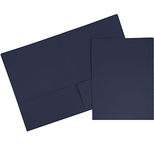 JAM PAPER Premium Matte Cardstock Twin Pocket Folders - Navy Blue - 6/Pack