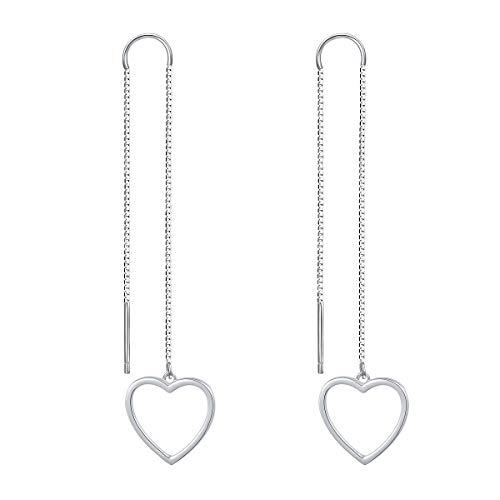 Earrings Heart Jewelry Drop (Sterling Silver Open Heart Threader Drop Earrings Forever Love Heart Dangle Earrings)