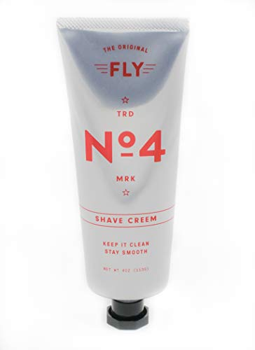 FLY NO 4 SHAVE CREAM, Best Luxury Shaving Cream, Close Shave, Protects From Razor Burn & Rash, Moisturizing, Cooling Menthol, Amber Mahogany Fragrance, Paraben Free, Sulfate Free, Cruelty Free, 4 oz
