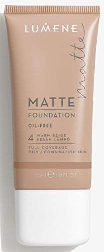 Lumene Matt Control Oil Free Foundation for Oily and Combination Skin Full Coverage with Arctic Cloudberry 30 ml / 1.0 Fl.Oz. (4 Warm Beige)