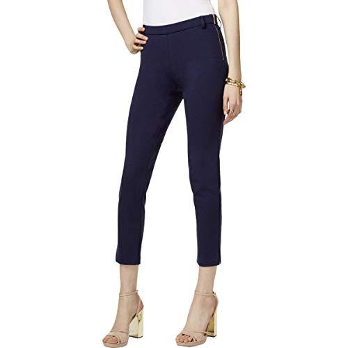 (MICHAEL Michael Kors Womens Petites Ponte Flat Front Ankle Pants Navy P)