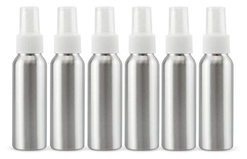 Cornucopia 2oz Aluminum Fine Mist Spray Bottles with Atomizer (6-Pack w/White Caps); Small Sprayers for Travel, Sterilization, Aromatherapy and Personal Care