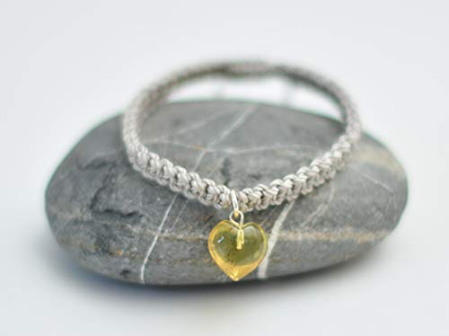 Amber hand carved heart adjustable gray bracelet UNISEX ()