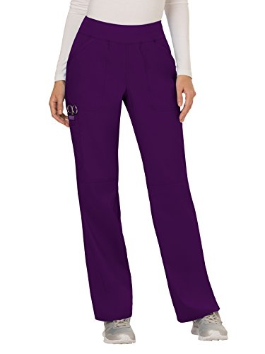 Cherokee Women's Mid Rise Straight Leg Pull-on Pant, Eggplant XX-Large