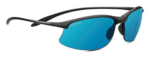 Serengeti Maestrale 8696 Sunglasses, Satin Black, 555nm Blue Polarized - Sunglasses Serengeti Maestrale