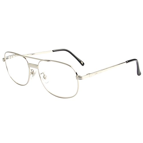 3 Finish Replacement Glass (LianSan Designer Oversized Stylish Metal Full Frame Reading Glasses Men Women Large Fashion Eyeglasses 1.0 1.5 2.0 2.5 3.0 3.5 4.0 L3690 Silver (+2.00))