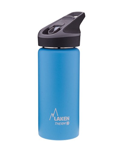 Laken Thermo Kids Vacuum Insulated Stainless Steel Leak Free Sports Water Bottle with Jannu Straw Cap, 17 Oz, Light Blue