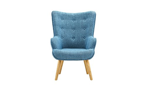 Accent Chair for Living Room, Upholstered Linen Arm Chairs with Tufted Button Detailing and Natural Wooden Legs (Blue)