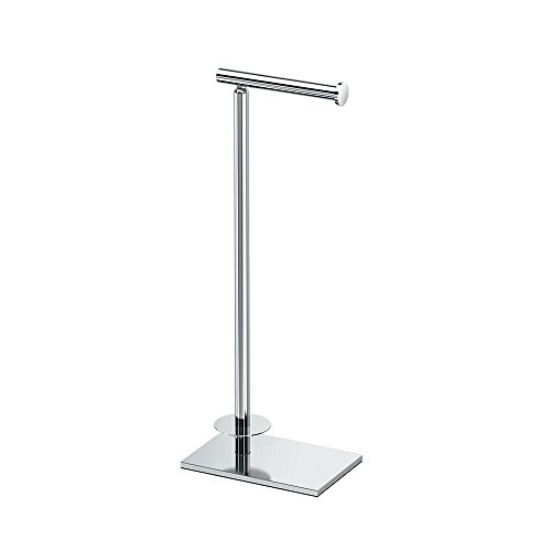 Gatco 1443C Modern Square Base Toilet Paper Holder Stand with Storage, Chrome, 21.13