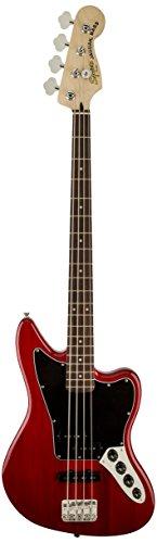Squier by Fender Vintage Modified Jaguar Beginner Short Scale Electric Bass Guitar - Crimson Red Transparent